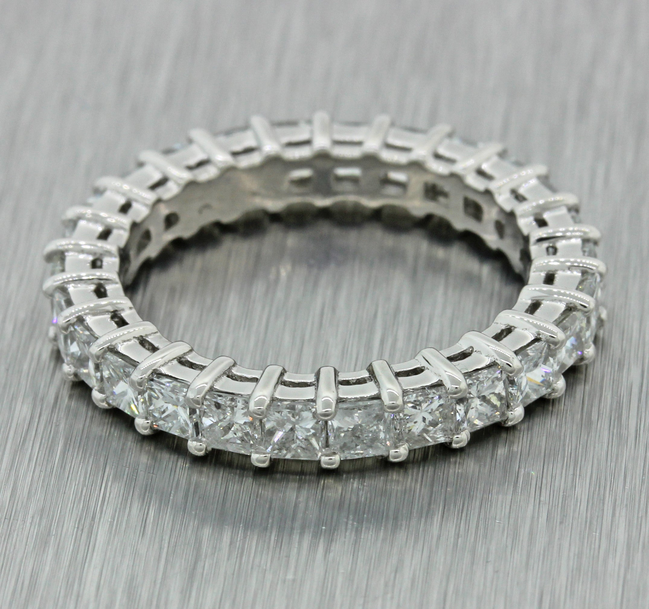 Vintage Estate Solid Platinum 3.01ctw Diamond Eternity Wedding Band Ring