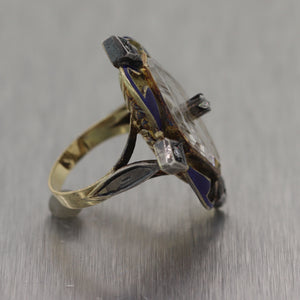1880's Antique Victorian Silver & 14k Yellow Gold Camphor Glass & Enamel Ring