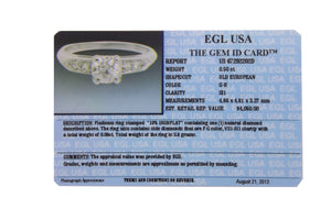 Ladies Modern Platinum 0.50ct G-H SI1 Old European Diamond Engagement Ring EGL