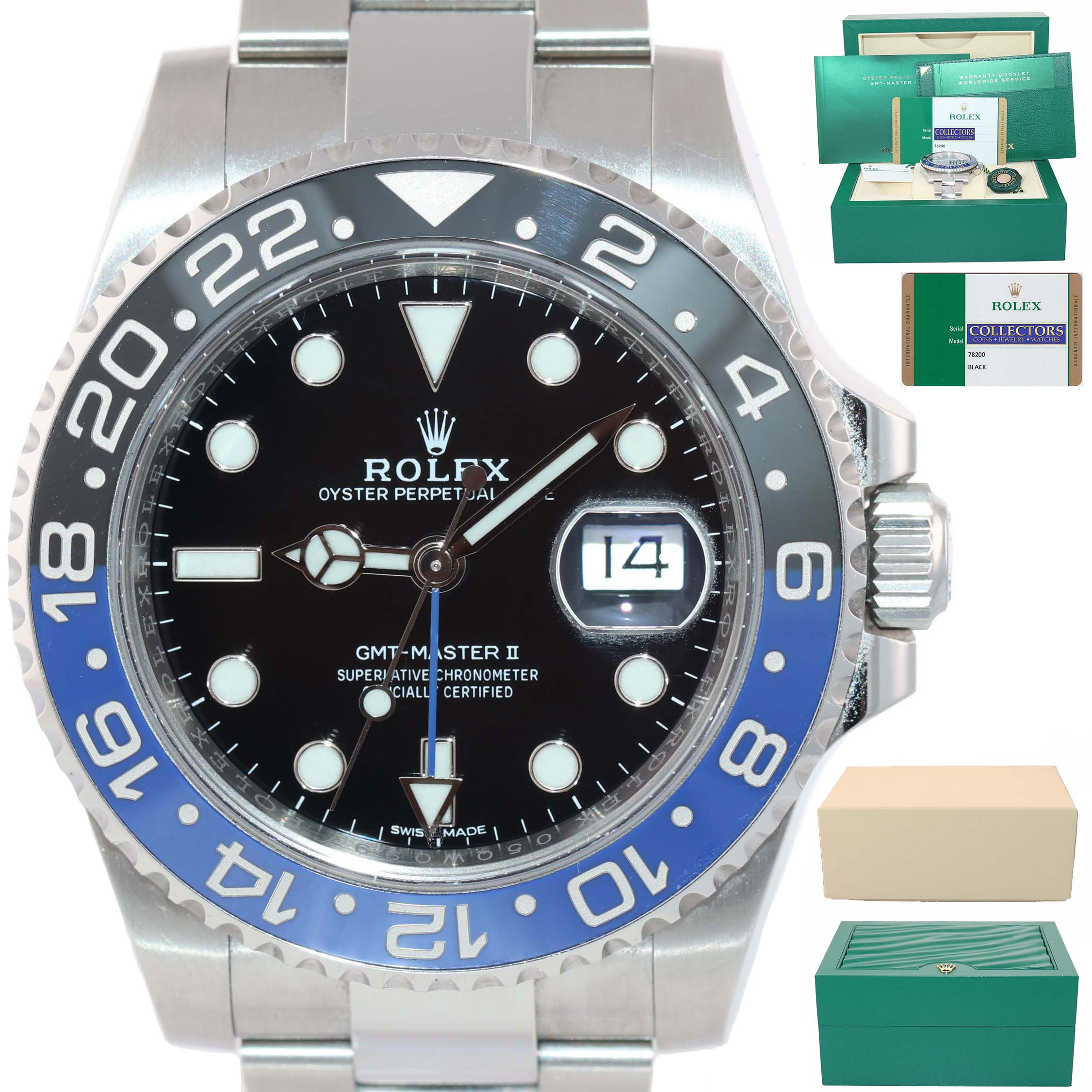 2017 PAPERS UNPOLISHED Rolex GMT Master Blue 116710 BLNR Ceramic Batman Watch