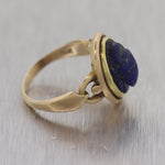 1870's Egyptian 14k Yellow Gold Revival Carved Lapis Scarab Ring