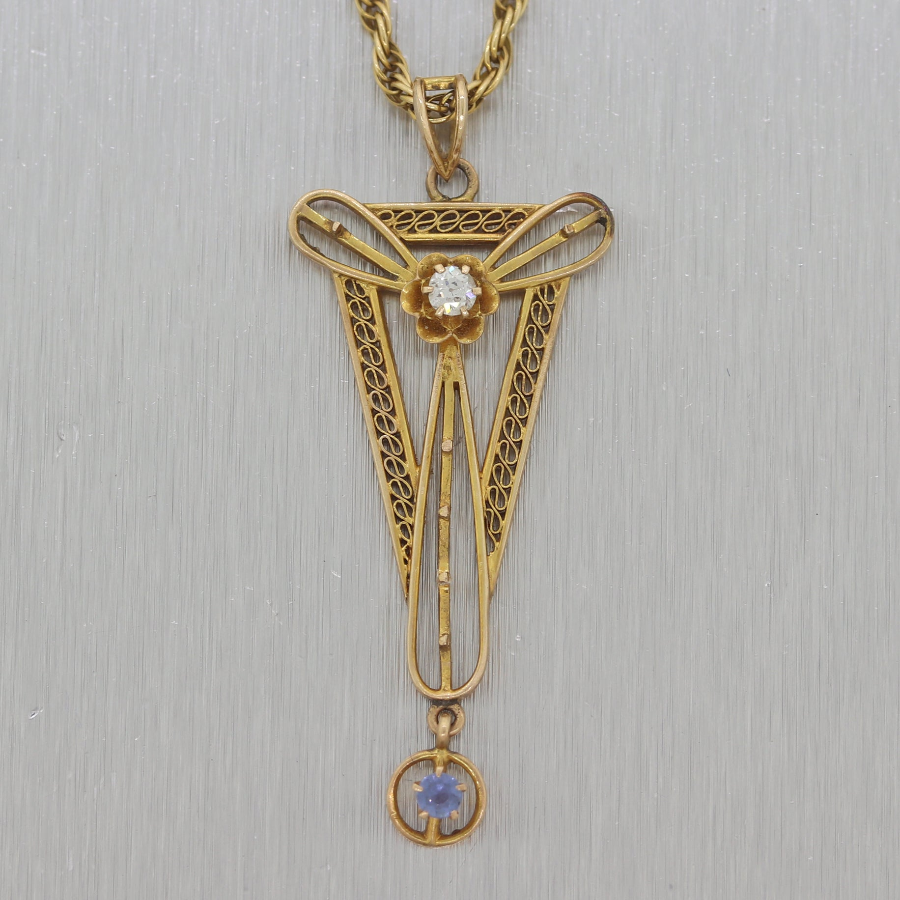 "1890's Antique Victorian 14k Yellow Gold Blue Topaz & Diamond 18"" Necklace"