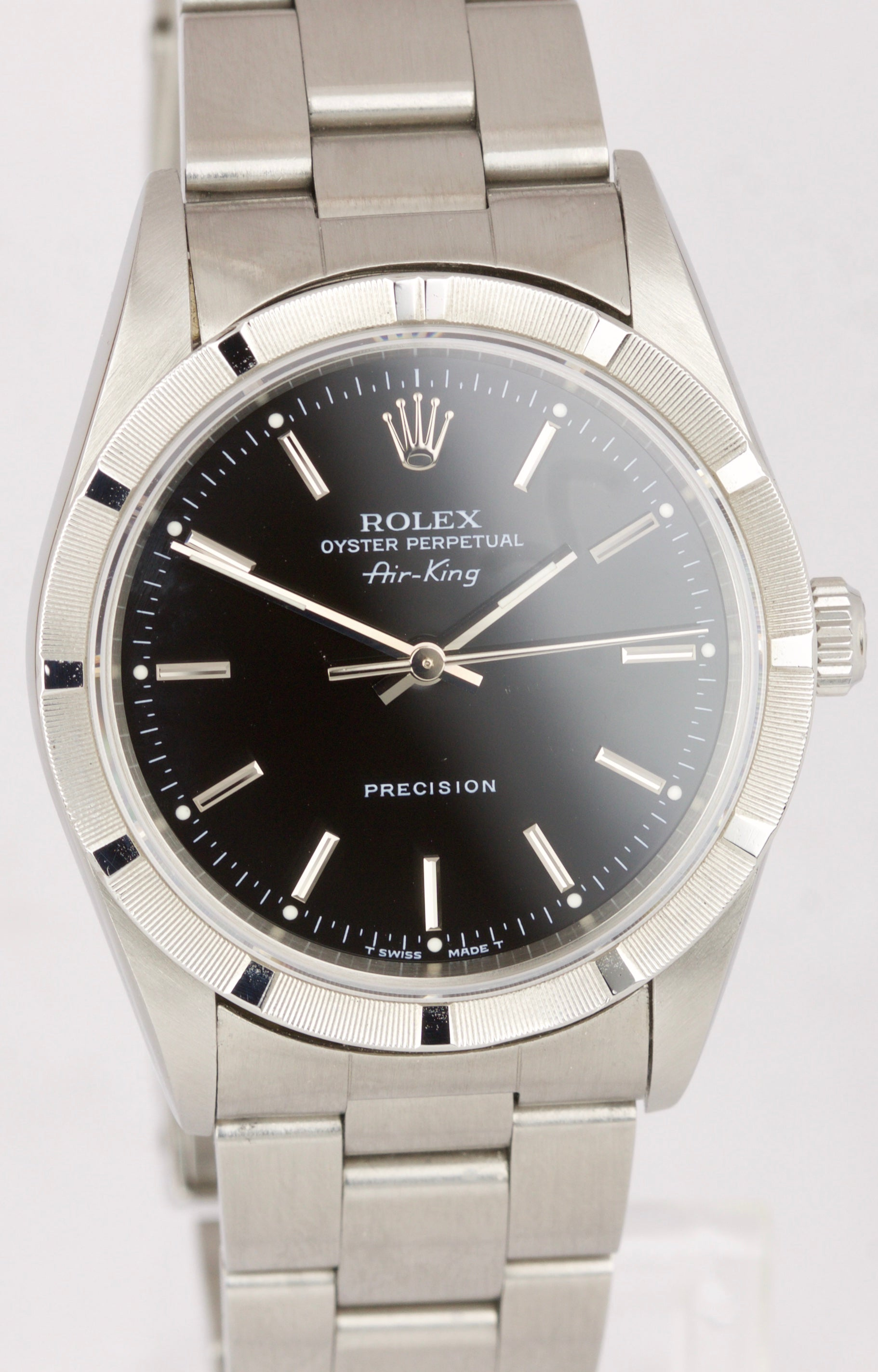 Men's 1997 Rolex Oyster Perpetual Air-King Black 14010 NO HOLES 34mm Watch 14000