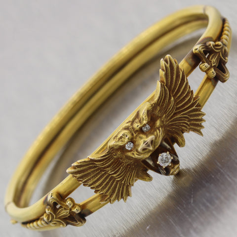 1950's Antique Victorian 14k Yellow Gold 0.20ctw Diamond Bangle Bracelet