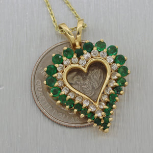 "Vintage Estate 14k Yellow Gold 2.50ctw Emerald & Diamond Heart 16"" Necklace"