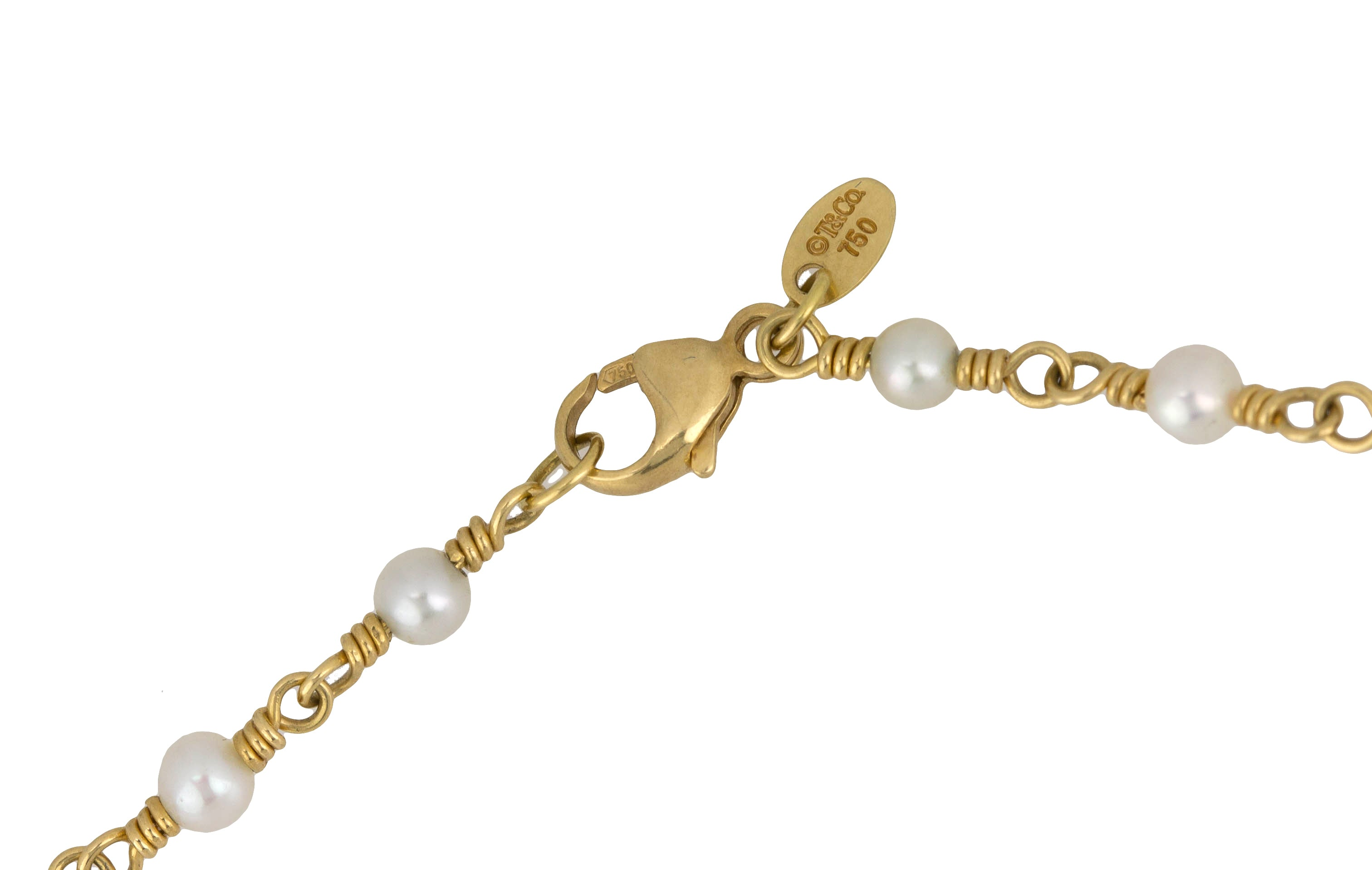 "Tiffany & Co. 18K 750 Yellow Gold 3mm ""Pearls by the Yard"" 15.75"" Necklace"