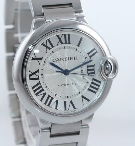 MINT Cartier Ballon Bleu Steel 36mm Automatic Midsize 3284 Roman Steel Watch Box