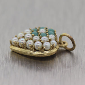 Antique Vintage Estate 14k Yellow Gold Turquoise & Pearl Heart Charm