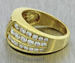 Vintage Estate 18k Yellow Gold 2ctw G VS1 Diamond Cluster 12mm Wide Band Ring