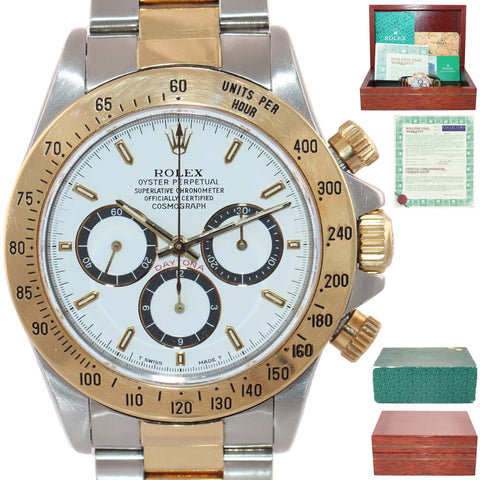 WARRANTY PAPERS Inverted 6 Rolex Daytona 16523 Zenith White Dial 18k Watch Box