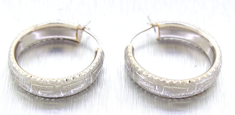 Vintage Estate 14k Solid White Gold Tribal Pattern Hoop Earrings