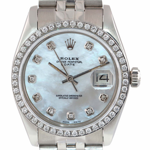Rolex Oyster Date 1501 34mm MOP Diamond Dial & White Gold Bezel Jubilee Watch B9