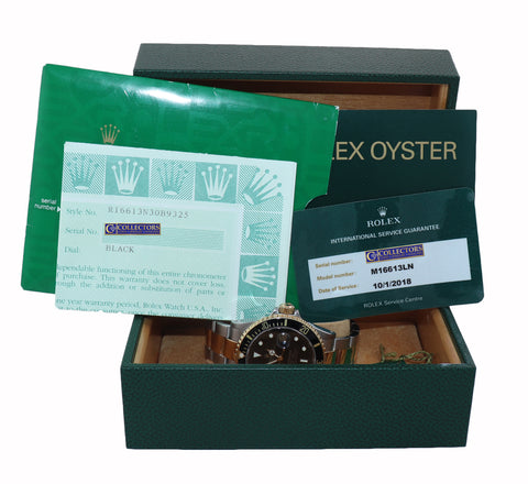 PAPERS 2018 RSC Rolex Submariner 16613 18k Gold Steel Two Tone Black 40mm Watch