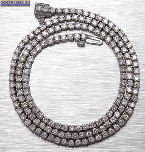 "Classic Ladies Petite 14K White Gold 5.61ctw Diamond Tennis 17.00"" Necklace"
