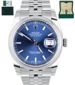 MINT 2018 Rolex DateJust 36 116200 Blue Stainless 36mm Jubilee Smooth Bezel