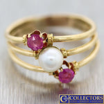 1880s Antique Victorian Estate 14k Yellow Gold Ruby Pearl 5mm Band Ring G8