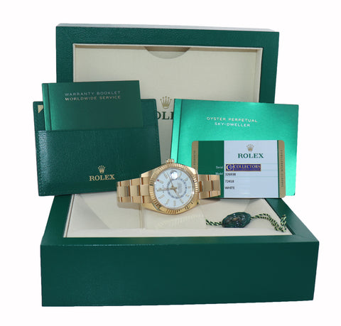 PAPERS JULY 2020 NEW Rolex Sky-Dweller 42mm 18k Yellow Gold White 326938 Watch