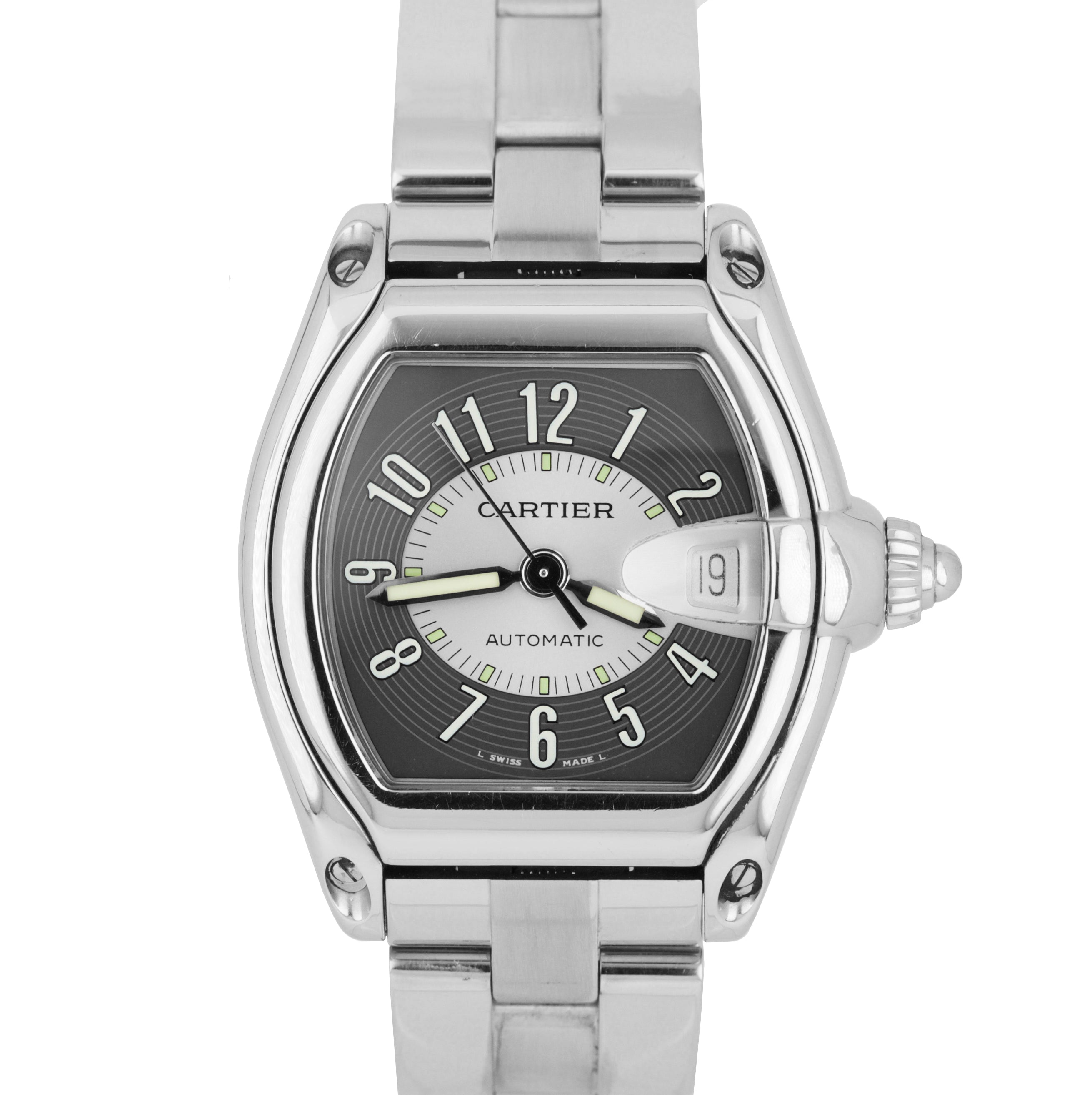 Cartier Roadster Automatic Black Silver 36mm W62002V3 Stainless Steel Watch 2510