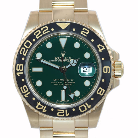 MINT Rolex GMT-Master 2 Ceramic Green Dial 116718 18k Yellow Gold 40mm Watch