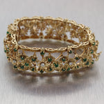 Antique Vintage Estate 14k Yellow Gold 7.20ctw Emerald & Diamond Bracelet