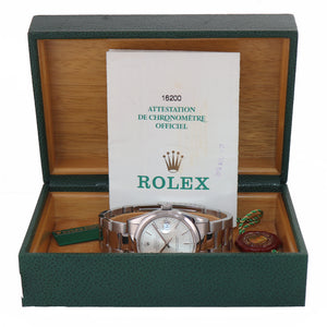 2002 MINT PAPERS Rolex DateJust 36mm 16200 Steel Silver Stick Oyster Watch Box