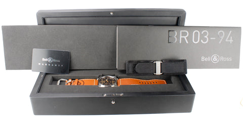 MINT Bell & Ross BR 03-94 Golden Heritage Chronograph Black 42mm Stainless Watch