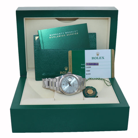 2019 NEW PAPERS Rolex DateJust Silver Stick 116200 36mm Oyster Steel Watch Box