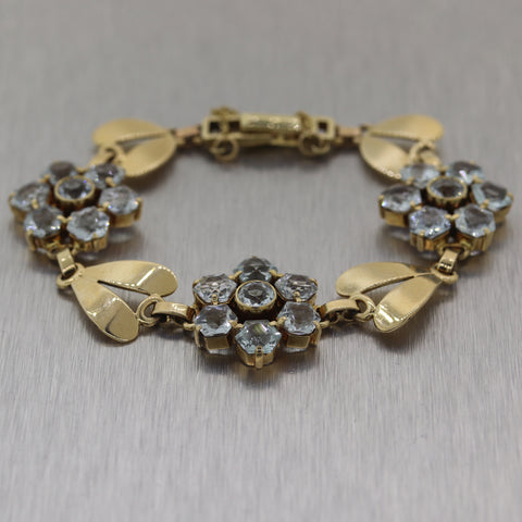 Antique Vintage Estate 14k Yellow Gold 20ctw Blue Topaz Bracelet