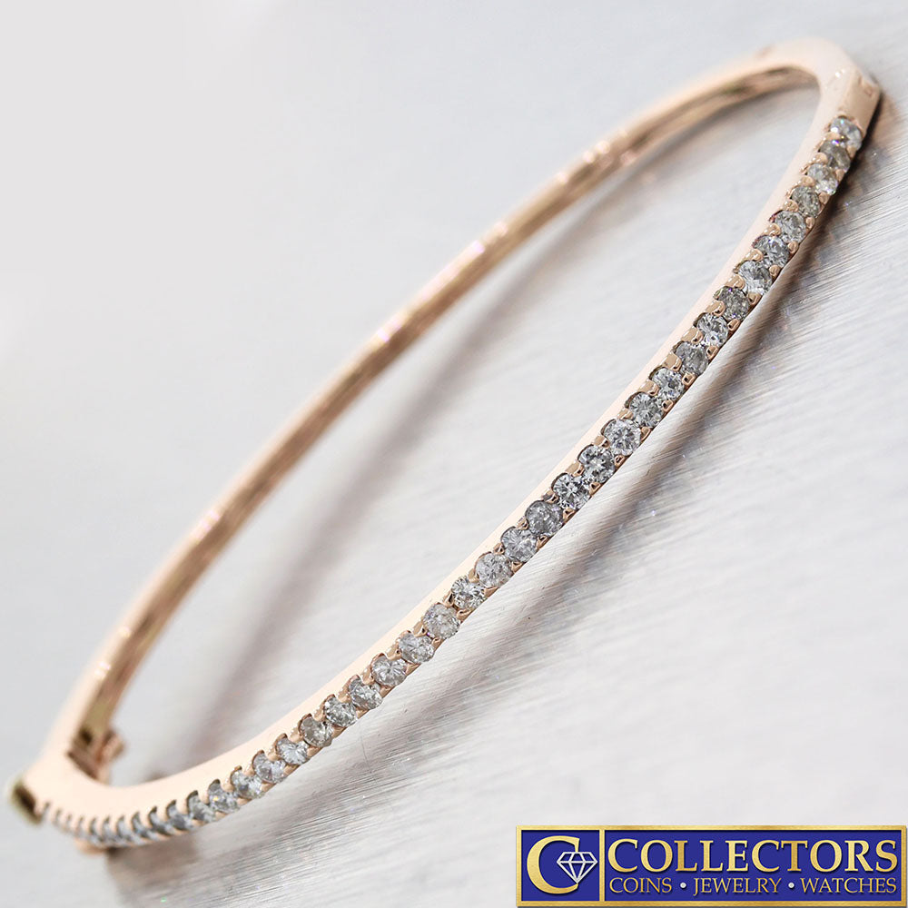 Modern Estate Solid 14k Rose Gold .80ctw Diamond 2mm Bangle Bracelet G8