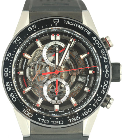 Tag Heuer Carrera Chronograph PVD Stainless Skeleton 44mm CAR2A1Z-0 Rubber Watch