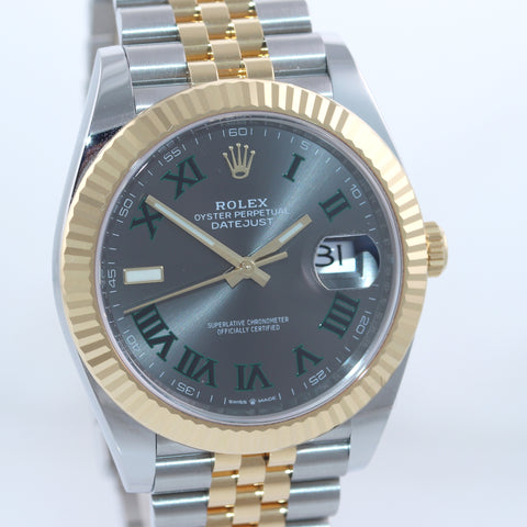 PAPERS NEW 2020 Rolex DateJust 41 126333 Two Tone Gold Wimbledon Grey Watch Box