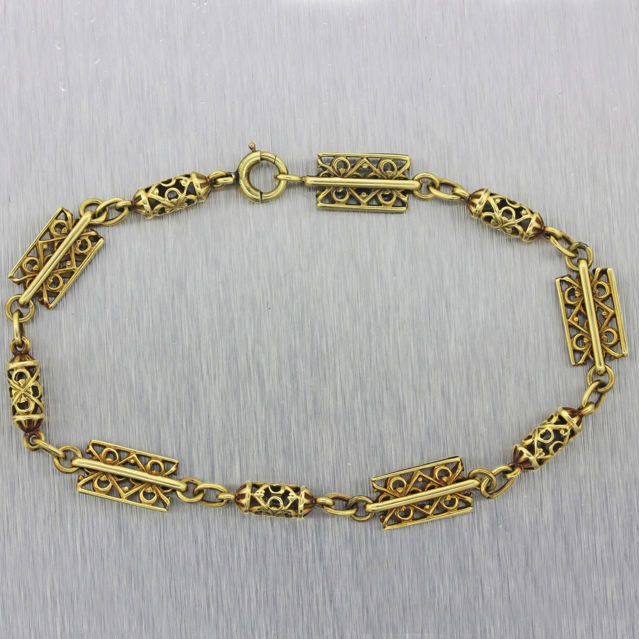 1920s Antique Art Deco Estate 14k Solid Yellow Gold Filigree Chain Link Bracelet