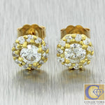 Women's Estate 14k Yellow Gold 8mm 1.05ctw Diamond Cluster Flower Stud Earrings