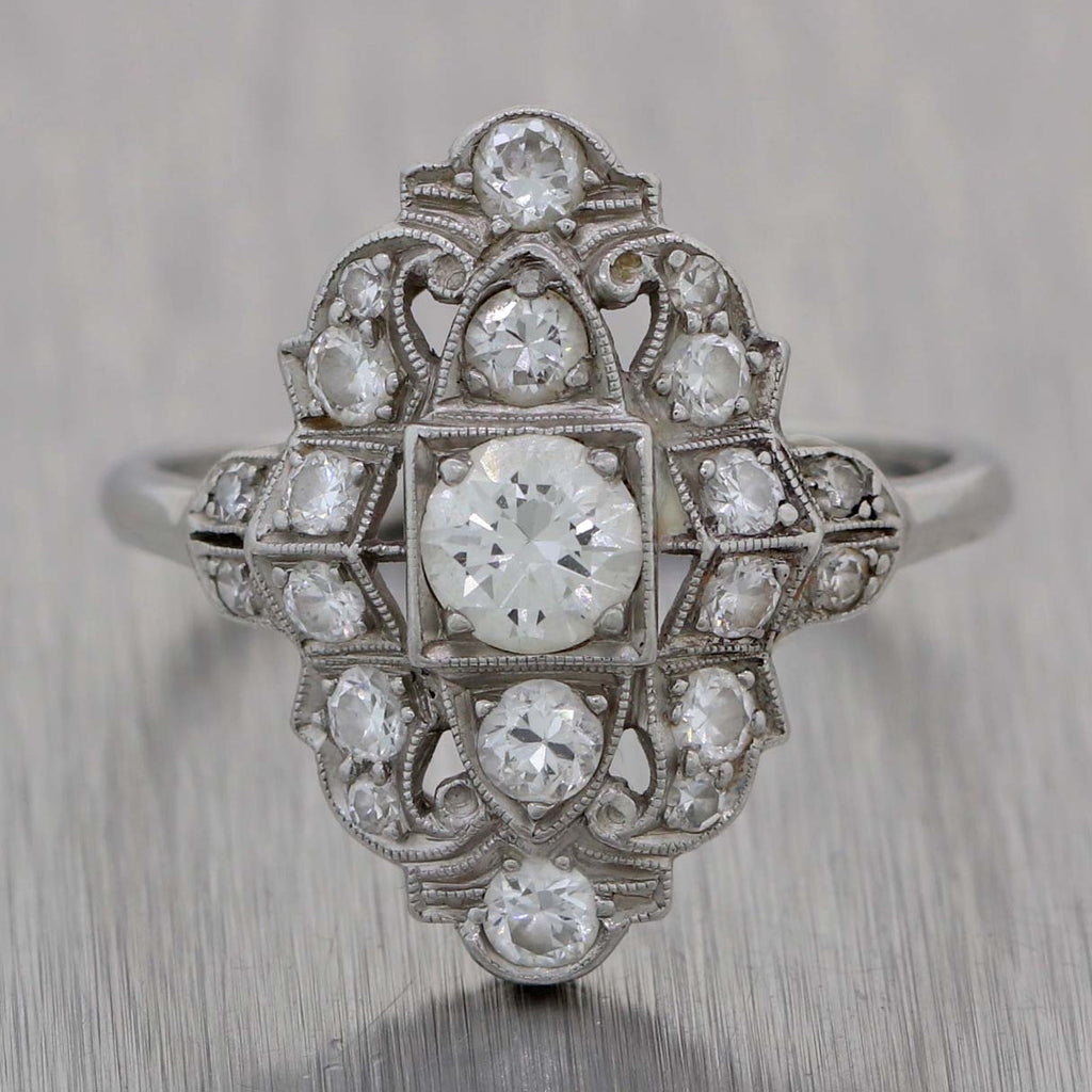 1920s Antique Art Deco Estate Platinum 1.05ctw Diamond Cluster Dinner Ring