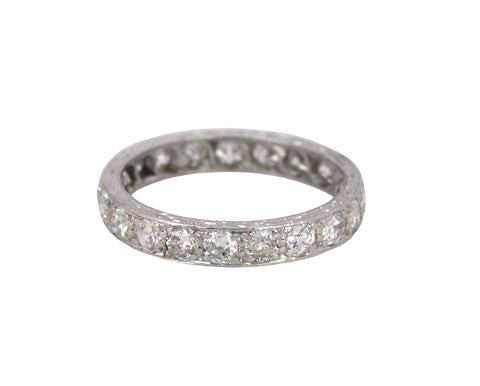 Antique Art Deco Platinum 1ctw Diamond 3mm Engraved Eternity Wedding Band Ring
