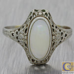 1930s Antique Art Deco Estate 14k White Gold 10x5mm Oval Opal Cocktail Ring F8