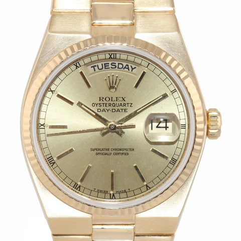 MINT Rolex OysterQuartz Day Date President 19018 Solid 18k Yellow Gold Watch