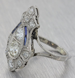 1930s Antique Art Deco Platinum Diamond 2.10ct Diamond Sapphire Cocktail Ring