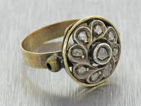 1880s Antique Victorian 18k Yellow Gold Rose Cut Diamond Circle Cocktail Ring