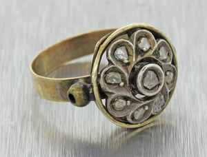 1880s Antique Victorian 18k Yellow Gold Rose Cut Diamond Circle Cocktail Ring Z9