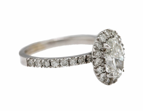 Ladies 14K White Gold 1.02ct G-H Oval Brilliant Halo Diamond Engagement Ring EGL