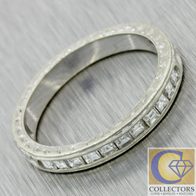 1930s Antique Art Deco Engraved 0.33ctw French Cut Diamond Wedding Band Ring