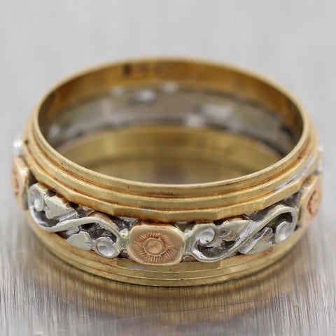 1930's Antique Art Deco 14k Multi-Toned Gold Filigree Wedding Band Ring