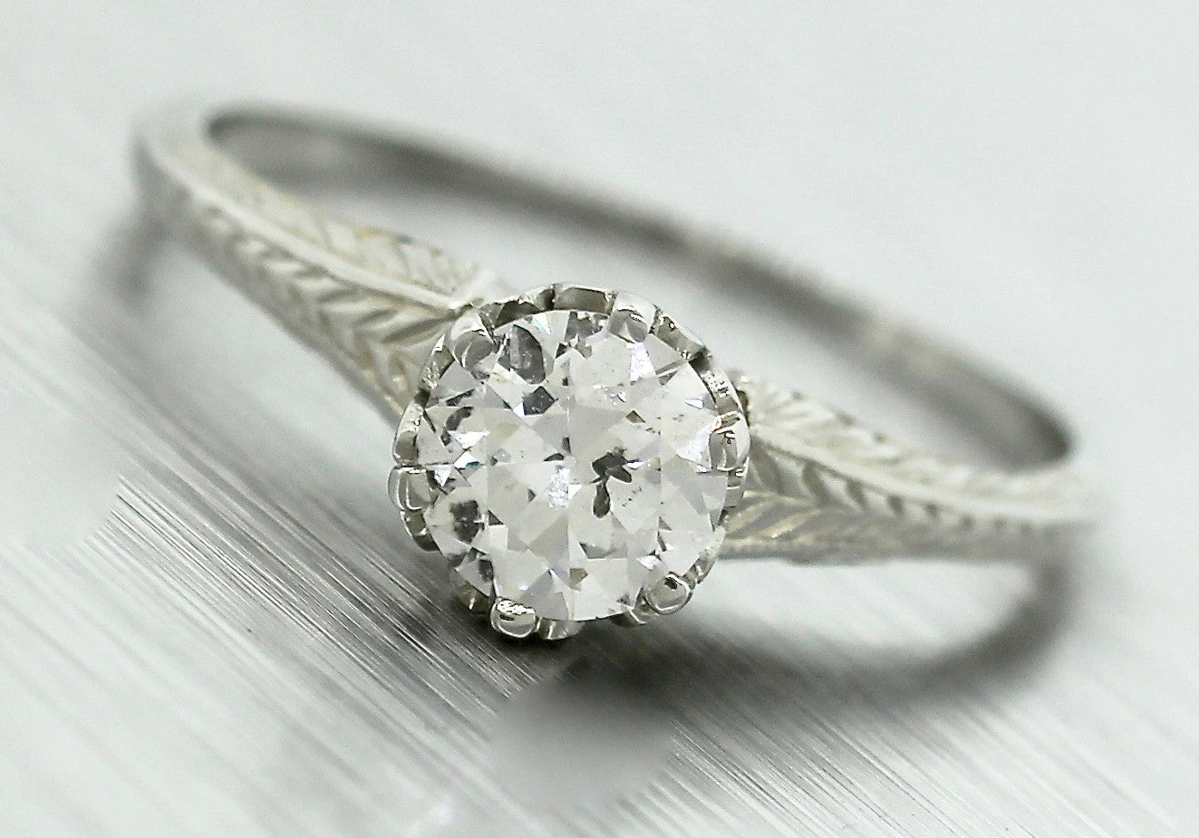 Ladies Antique 1920s Art Deco 0.58ct Diamond 18K Gold Engagement Ring EGL USA