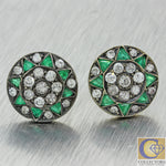 1880s Antique Victorian 14k Gold Silver Top 1.84ctw Emerald Diamond Earrings