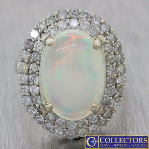 Vintage Estate 14k Solid White Gold Opal 1.50ct Diamond Cocktail Ring G8