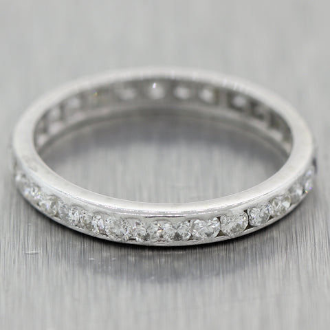 1930's Antique Art Deco Platinum 1ctw Diamond Eternity Wedding Band Ring