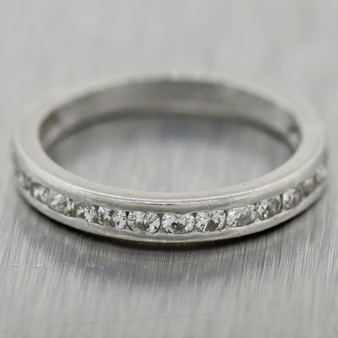 1927 Antique Art Deco Platinum 0.50ctw Diamond Wedding Band Ring
