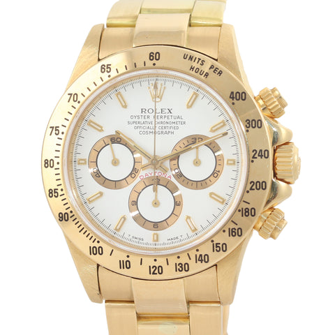 Rolex Daytona 16528 Zenith 40mm 18k Yellow Gold White Dial Chrono Watch