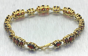 "Vintage Estate 14k Solid Yellow Gold Oval Garnet Cluster 7"" Bracelet 11g"